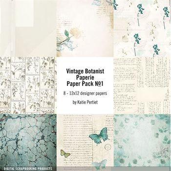 Vintage Botanist Paperie Paper Pack No. 01 Digital Art - Digital Scrapbooking Kits