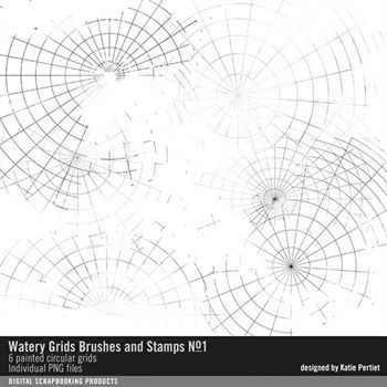 Watery Grids Brushes And Stamps No. 01 Digital Art - Digital Scrapbooking Kits