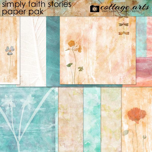 Simply Faith Stories Paper Pak Digital Art - Digital Scrapbooking Kits