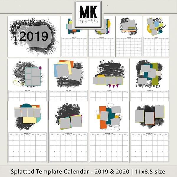 Splatted Template Calendar 2019 & 2020 - 11x8.5 Digital Art - Digital Scrapbooking Kits