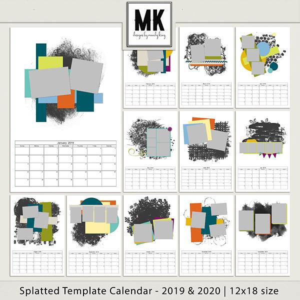 Splatted Template Calendar 2019 & 2020 - 12x18 Digital Art - Digital Scrapbooking Kits