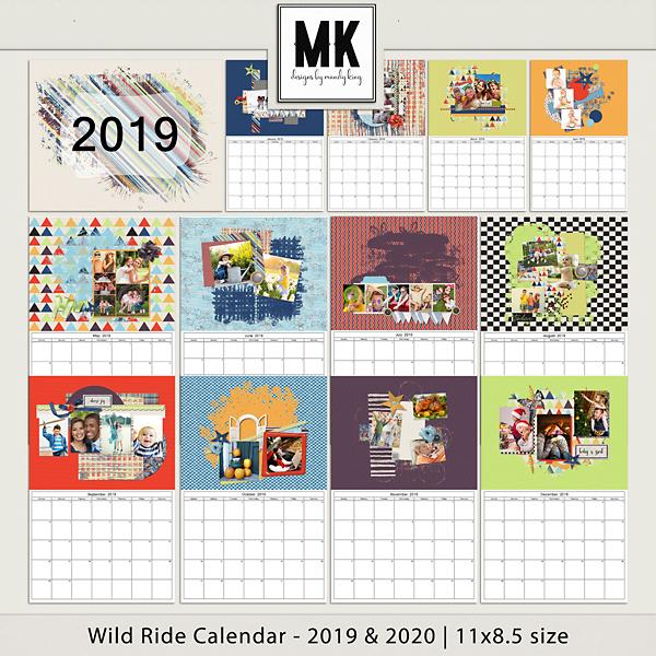 Wild Ride Calendar 2019 & 2020 - 11x8.5 Digital Art - Digital Scrapbooking Kits