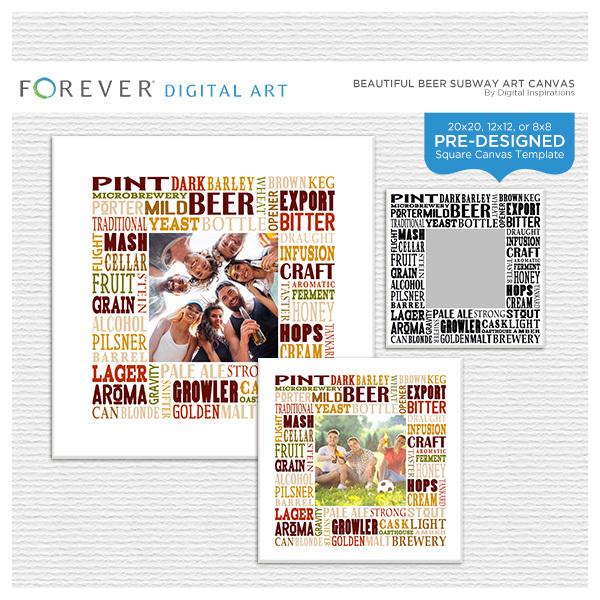Beautiful Beer Subway Art Canvas Digital Art - Digital Scrapbooking Kits