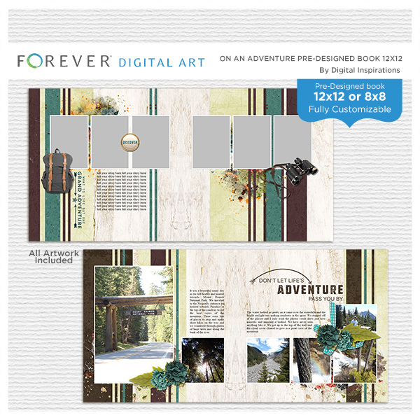 On An Adventure Pre-designed Book 12x12 Digital Art - Digital Scrapbooking Kits