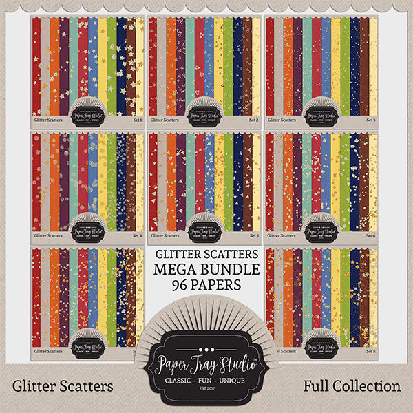 Glitter Scatters - Sets 1-8 Digital Art - Digital Scrapbooking Kits