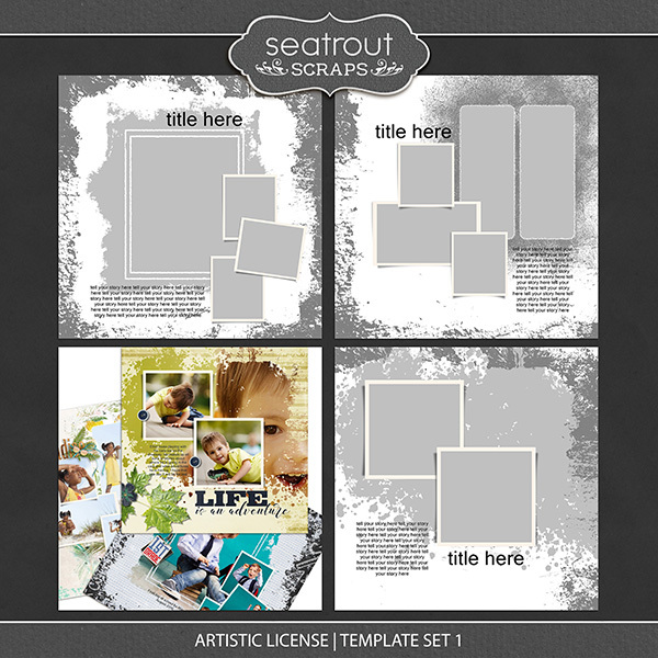 Artistic License Template Set 3 Digital Art - Digital Scrapbooking Kits