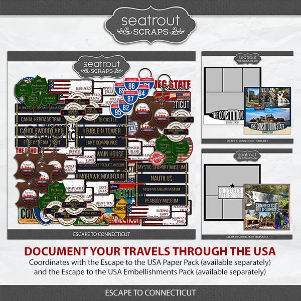 Escape To Connecticut Collection Digital Art - Digital Scrapbooking Kits
