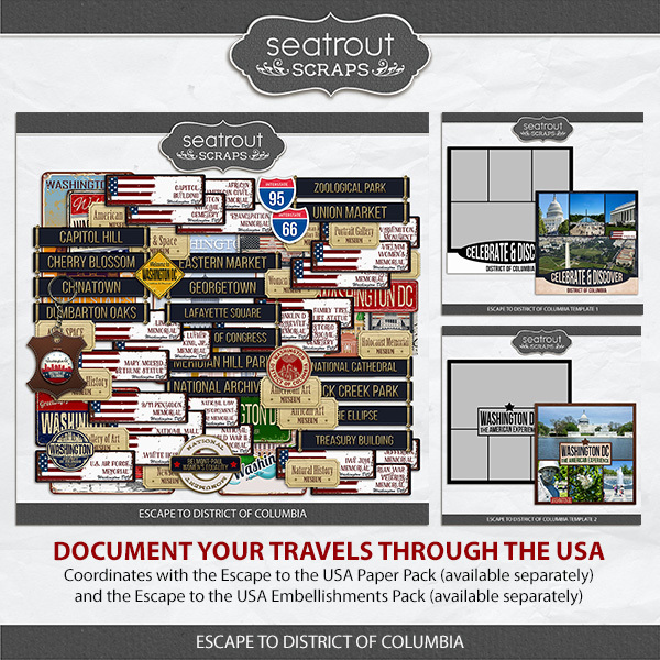 Escape To District Of Columbia Collection Digital Art - Digital Scrapbooking Kits
