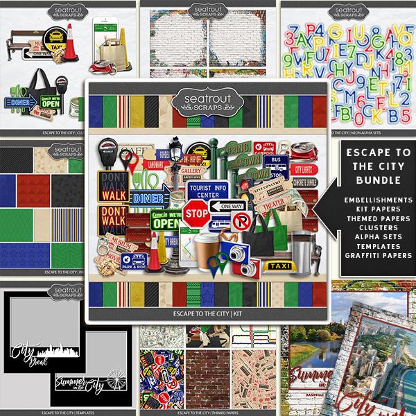 Escape To The City Bundle Digital Art - Digital Scrapbooking Kits