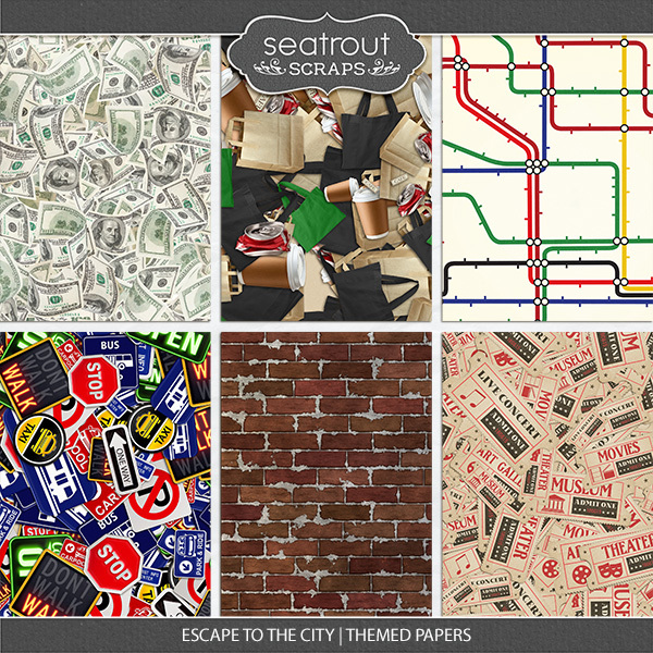 Escape To The City Themed Papers Digital Art - Digital Scrapbooking Kits