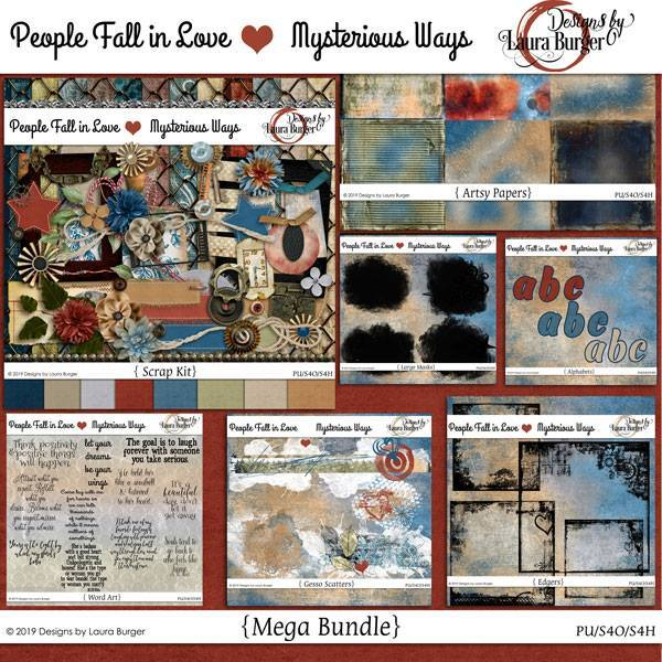 People Fall In Love Mysterious Ways Mega Bundle Digital Art - Digital Scrapbooking Kits