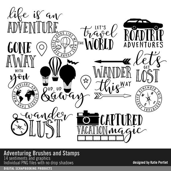 Adventuring Brushes And Stamps Digital Art - Digital Scrapbooking Kits