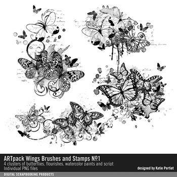 Artpack Wings Brushes, Stamps And Layered Files No. 01 Digital Art - Digital Scrapbooking Kits