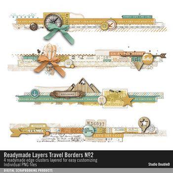 Readymade Layers Travel Borders No. 02 Digital Art - Digital Scrapbooking Kits