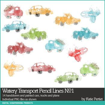 Watery Transport Pencil Lines No. 01 Digital Art - Digital Scrapbooking Kits