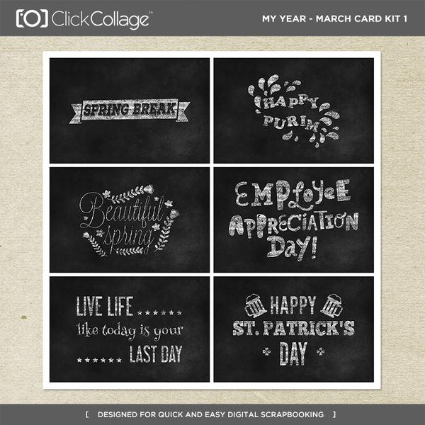 My Year - March Card Kit 1 Digital Art - Digital Scrapbooking Kits
