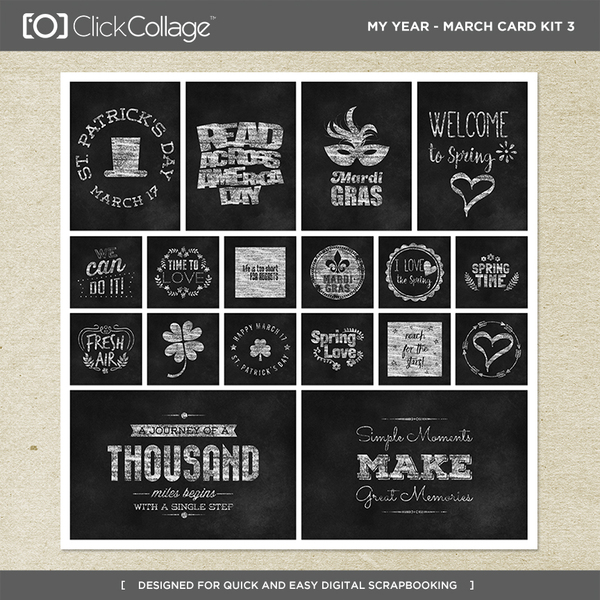 My Year - March Card Kit 3 Digital Art - Digital Scrapbooking Kits