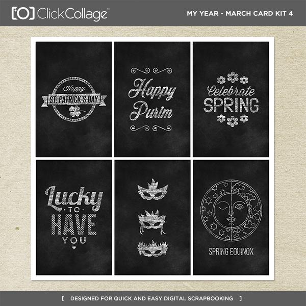 My Year - March Card Kit 4 Digital Art - Digital Scrapbooking Kits