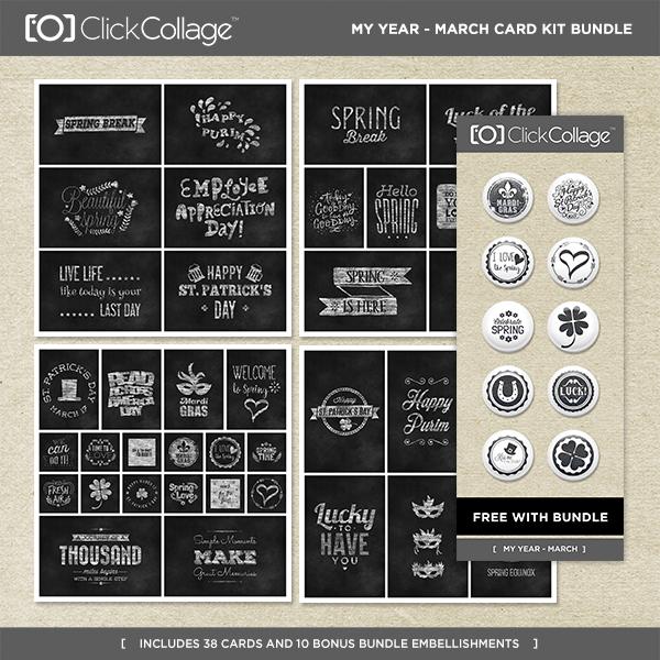 My Year - March Card Kit Bundle Digital Art - Digital Scrapbooking Kits