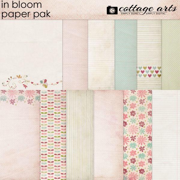 In Bloom Paper Pak Digital Art - Digital Scrapbooking Kits