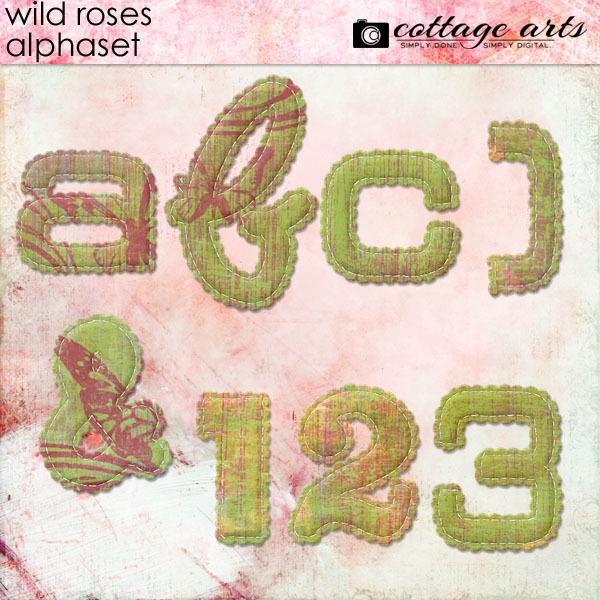 Wild Roses AlphaSet Digital Art - Digital Scrapbooking Kits