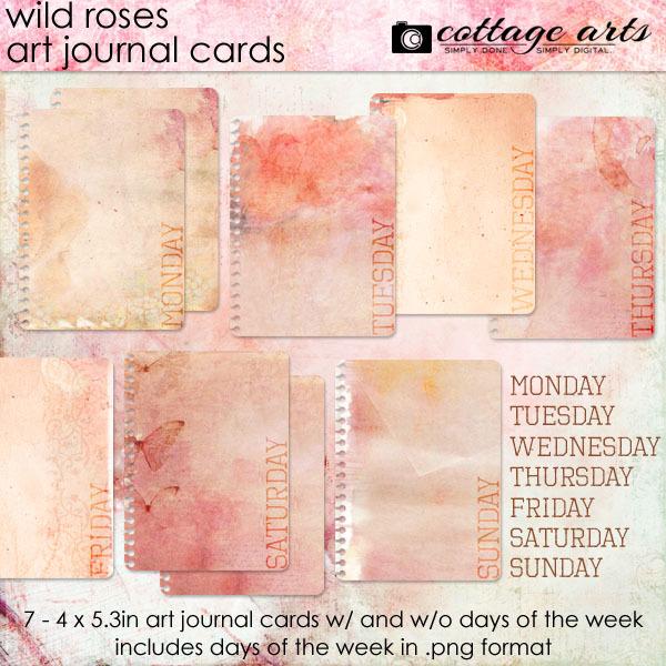 Wild Roses Art Journal Cards Digital Art - Digital Scrapbooking Kits