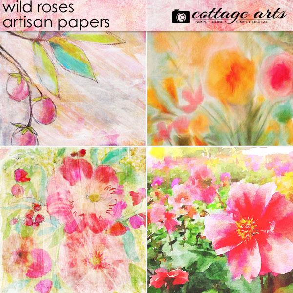 Wild Roses Artisan Papers Digital Art - Digital Scrapbooking Kits