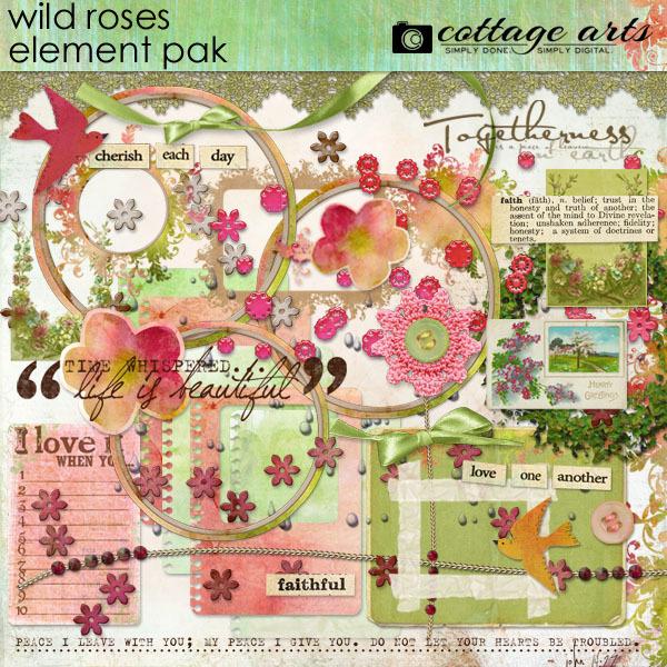 Wild Roses Element Pak Digital Art - Digital Scrapbooking Kits