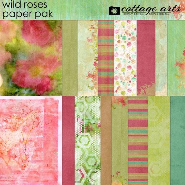 Wild Roses Paper Pak Digital Art - Digital Scrapbooking Kits
