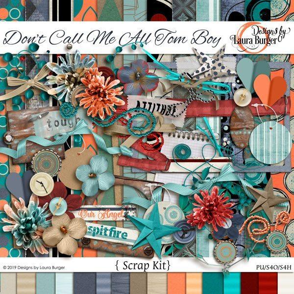 Don't Call Me All Tomboy Scrap Kit Digital Art - Digital Scrapbooking Kits