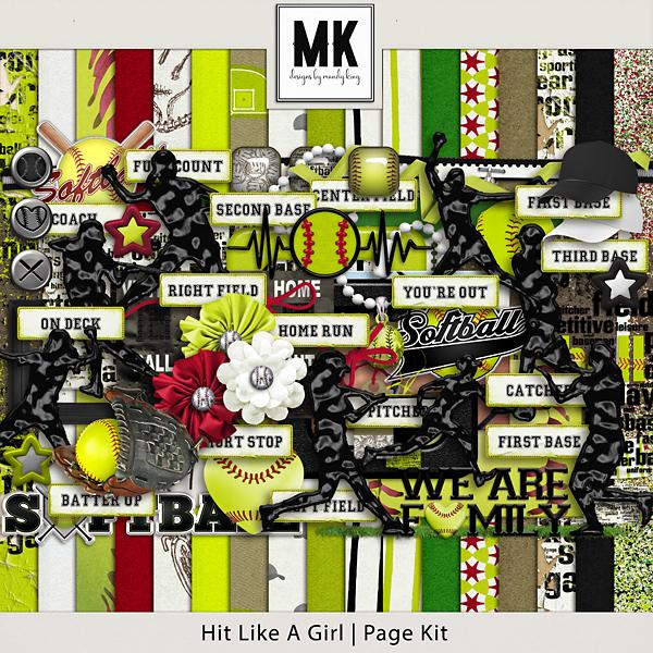 Hit Like A Girl - Page Kit Digital Art - Digital Scrapbooking Kits