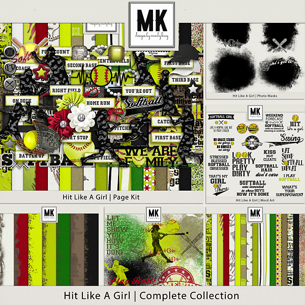 Hit Like A Girl Complete Collection Digital Art - Digital Scrapbooking Kits