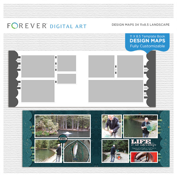 Forever Design Maps 34 11x8.5 Digital Art - Digital Scrapbooking Kits