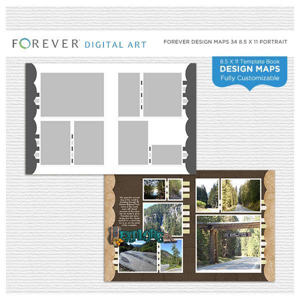 Forever Design Maps 34 8.5x11 Digital Art - Digital Scrapbooking Kits