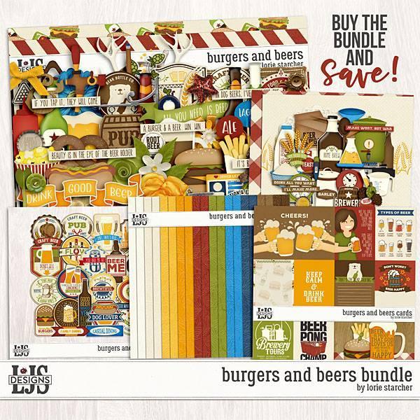 Burgers And Beers Bundle Digital Art - Digital Scrapbooking Kits