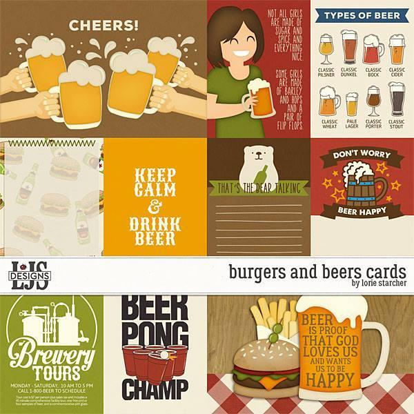 Burgers And Beers Cards Digital Art - Digital Scrapbooking Kits