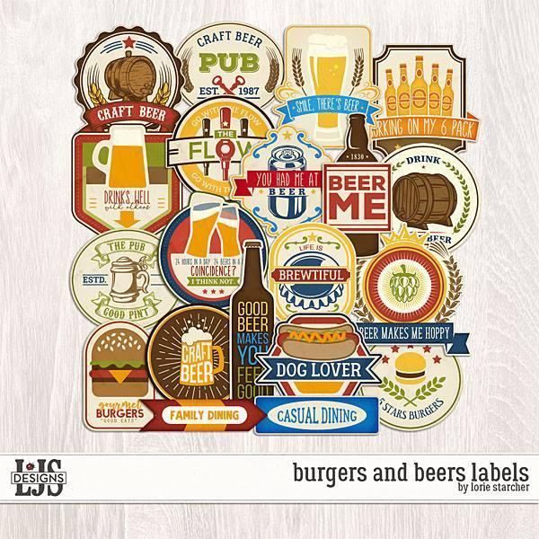 Burgers And Beers Labels Digital Art - Digital Scrapbooking Kits
