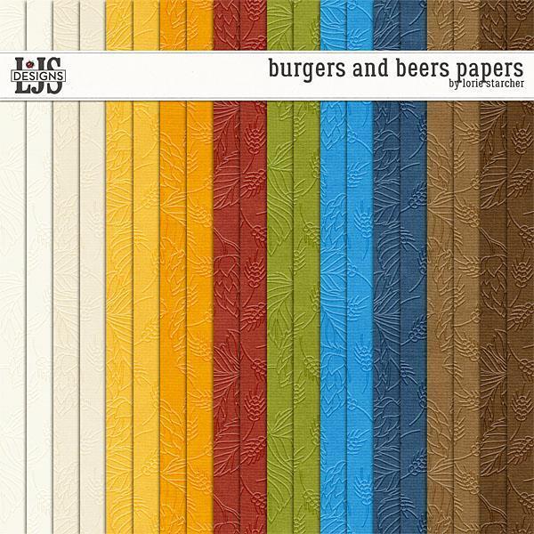 Burgers And Beers Papers Digital Art - Digital Scrapbooking Kits