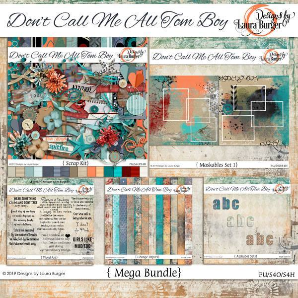 Don't Call Me All Tomboy Mega Kit Digital Art - Digital Scrapbooking Kits