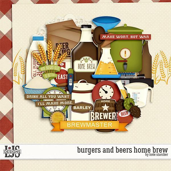 Burgers And Beers Home Brew Digital Art - Digital Scrapbooking Kits
