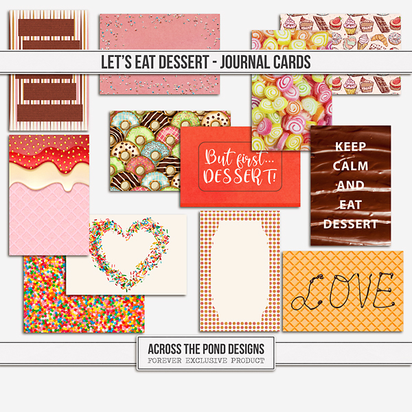 Let's Eat Dessert - Journal Cards Digital Art - Digital Scrapbooking Kits