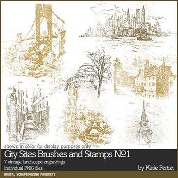 City Sites Brushes And Stamps No. 01 Digital Art - Digital Scrapbooking Kits