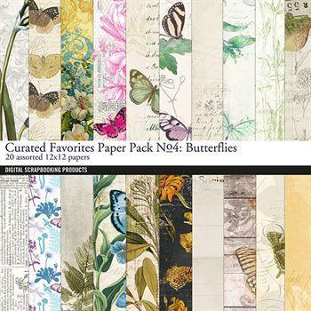 Curated Favorites Paper Pack No. 04 Butterflies Digital Art - Digital Scrapbooking Kits