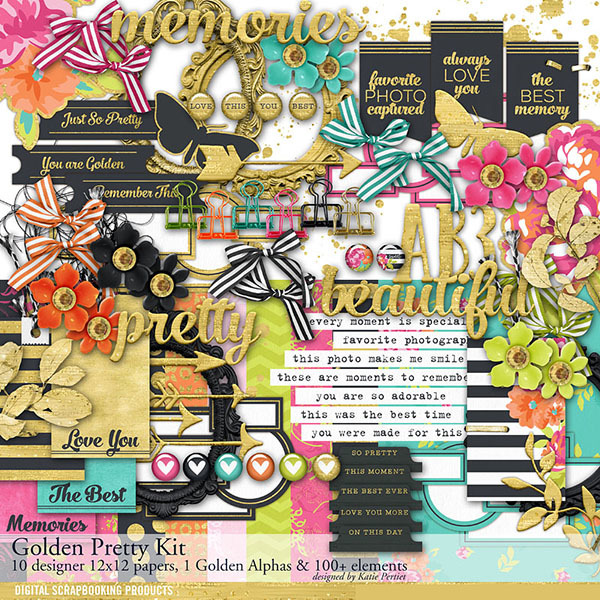 Golden Pretty Scrapbook Kit Digital Art - Digital Scrapbooking Kits