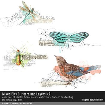 Mixed Bits Clusters And Layers No. 01 Digital Art - Digital Scrapbooking Kits