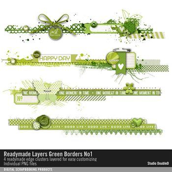 Readymade Layers Green Borders No. 01 Digital Art - Digital Scrapbooking Kits