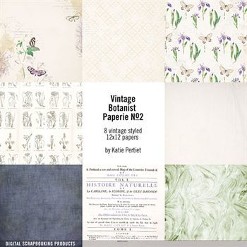 Vintage Botanist Paperie Paper Pack No. 02 Digital Art - Digital Scrapbooking Kits