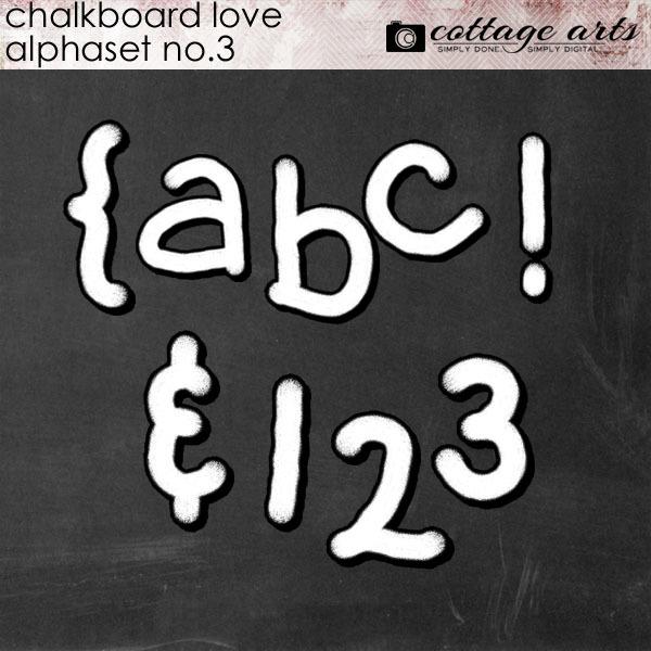 Chalkboard Love 3 AlphaSet Digital Art - Digital Scrapbooking Kits