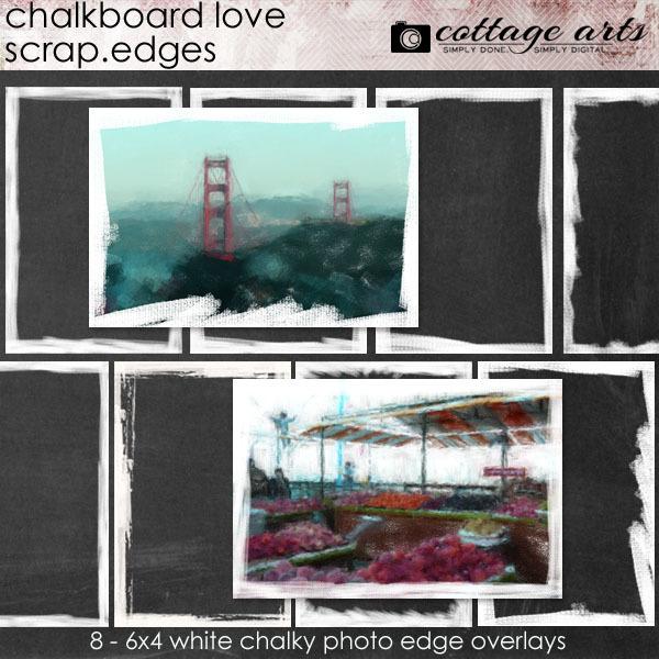 Chalkboard Love Scrap.Edges Digital Art - Digital Scrapbooking Kits