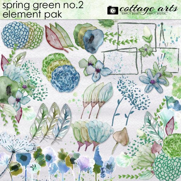 Spring Green 2 Element Pak Digital Art - Digital Scrapbooking Kits